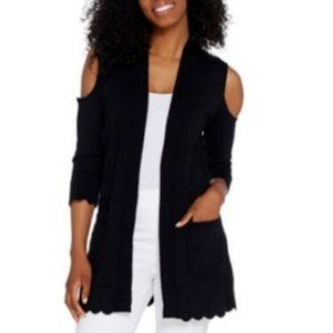 Isaac Mizrahi Cold Shoulder Cardigan Scallop Hem